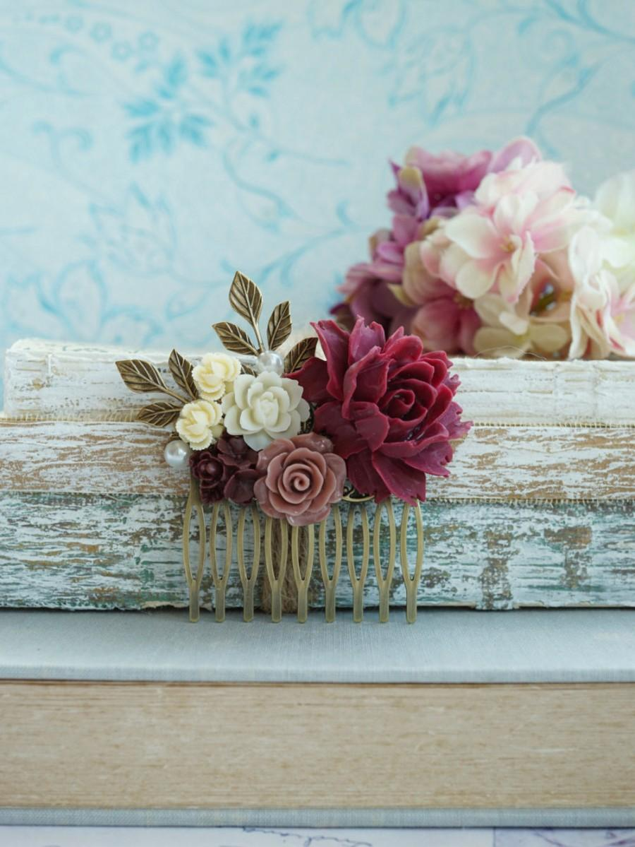 Mariage - Burgundy Red Flower Comb Marsala Brown Antiqued Hair Comb Rustic Wedding Comb Brown Maroon Dark Red Gold Leaf Branch Flower Bridal Hair Comb