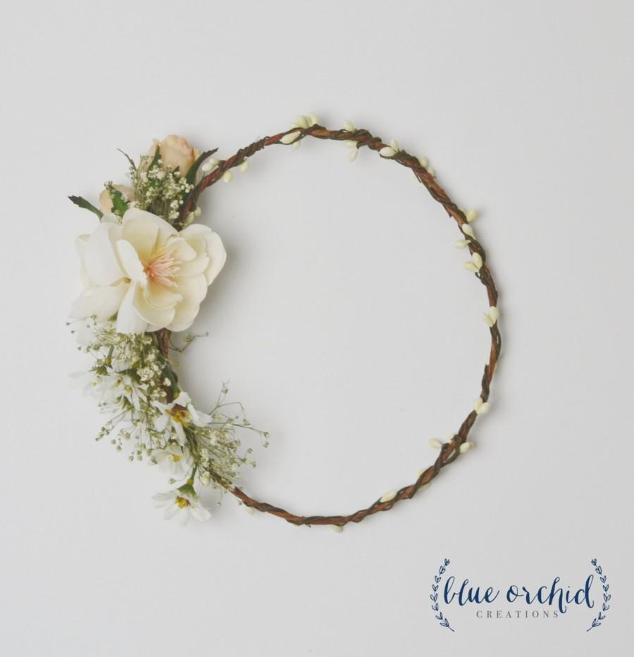 Flower Crown Cream Ivory Babys Breath Flower Crown White