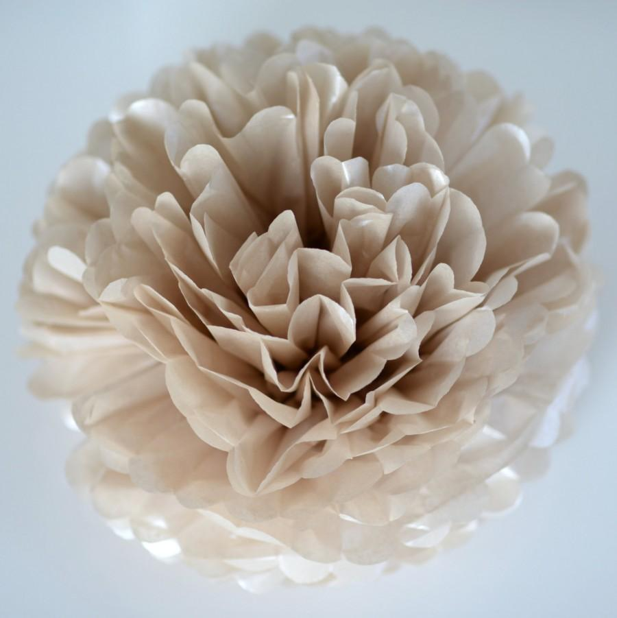 """Mariage - Pearlesence  Champagne - sparkling tissue paper pompom  30"""" 19"""" 14"""" 10"""" 8"""" 6"""" 4""""- wedding party decorations"""