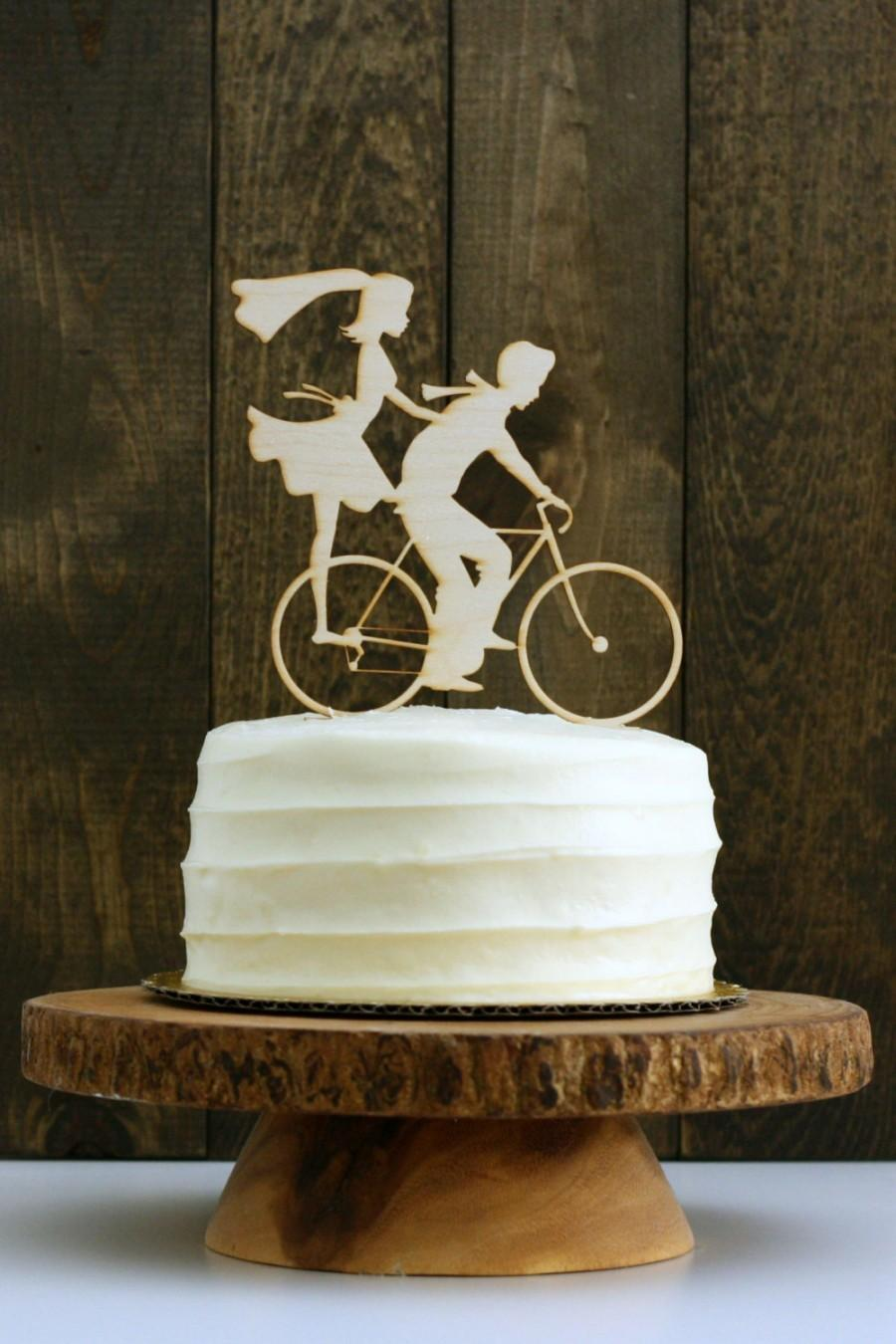 Mariage - Rustic Bike Wedding Cake Topper with Bride and Groom Silhouettes on Bicycle