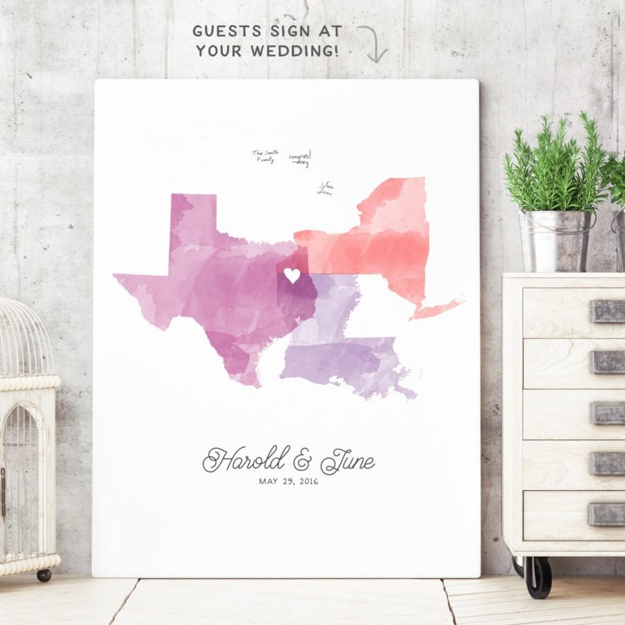 Watercolor Guest Book Alternative - 3 State Love Guest Book ...