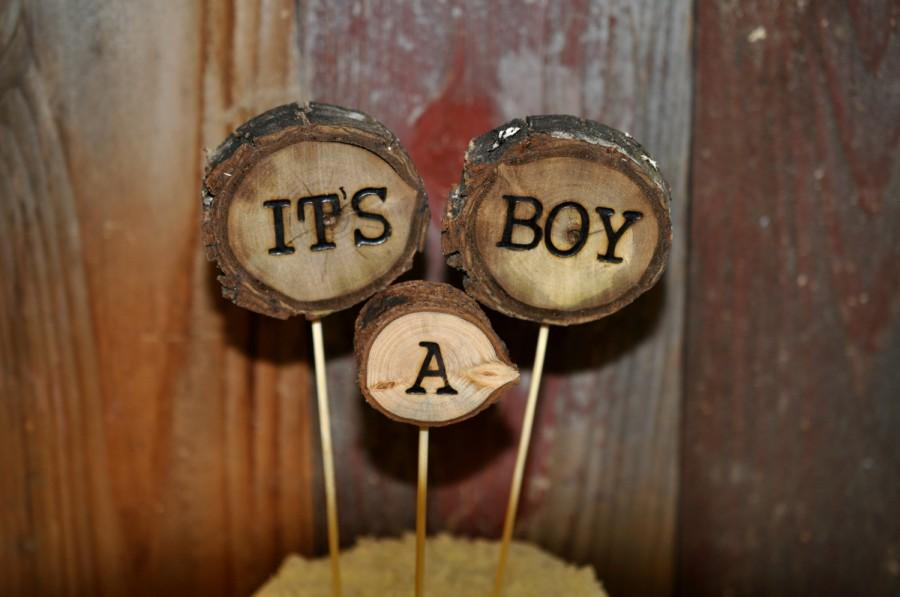 Mariage - It's a Boy Cake Topper, Its a Boy Cake Topper,  Woodland Cake Topper, Rustic Cake Topper, Woodland Baby Shower, Personalized Cake Toppers