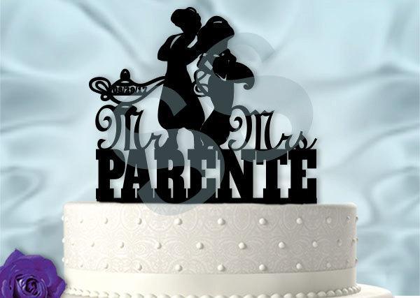 Mariage - Personalized Aladdin and Jasmine inspired Wedding Cake Topper