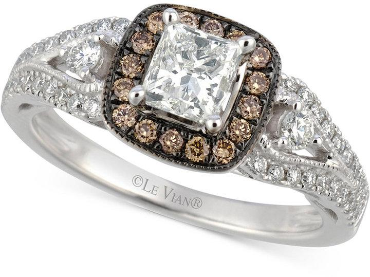 Hochzeit - Le Vian Le Vian® Bridal Diamond Engagement Ring (1-1/5 ct. t.w.) in 14k White Gold