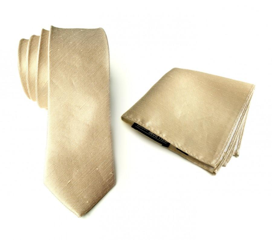 "Mariage - Champagne linen necktie. Pale gold woven silk & linen blend men's tie. ""Fisher"" rustic wedding necktie. Pocket squares available too!"