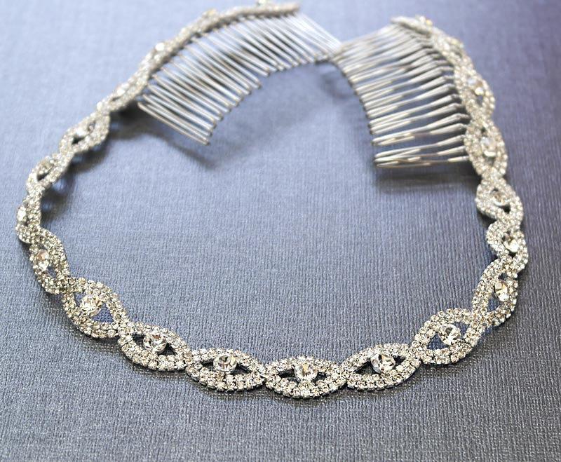 Mariage - Silver Wedding Headband, Bridal Headpiece, Rhinestone Headband, Hair Tiara, Flower Girl,Hair Jewelry, Bridesmaid, Hair Accessory-HA011