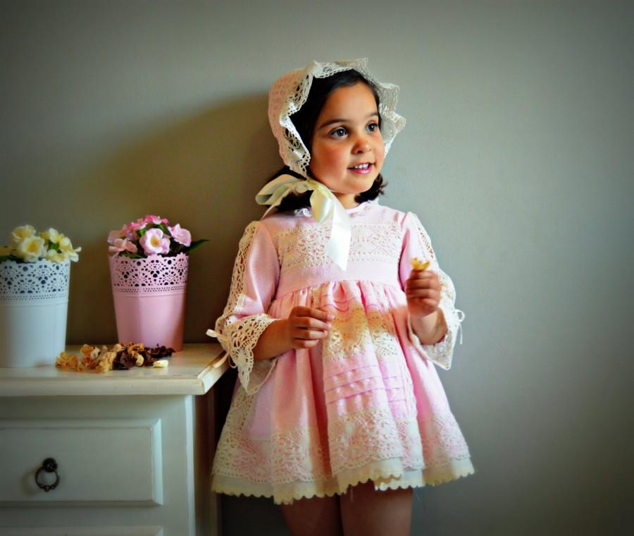 Wedding - 1T,2T,3T,4Y,5Y,6Y+.Toddler & girl unique dress.Cotton,bobbin lace,ribbons.1st Communion.Naming day.Baptism.Christening Gown.Heirloom.Wedding