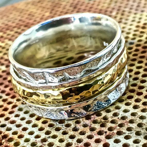 زفاف - Two Tone ring, Spinner ring, gold spinner ring, comfort wedding band, Unisex ring, Spinning ring, worry ring, Meditation ring, JR795