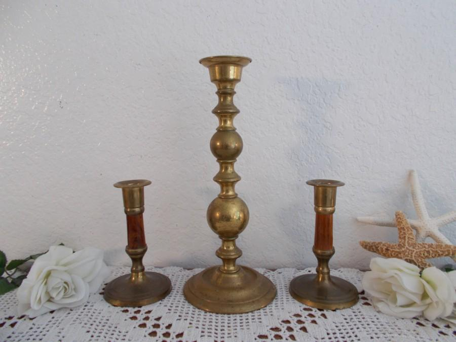 Mariage - Vintage Gold Brass Unity Wedding Candle Holder Set Mid Century Hollywood Regency Traditional Retro Bungalow Rustic Country Home Decor Gift