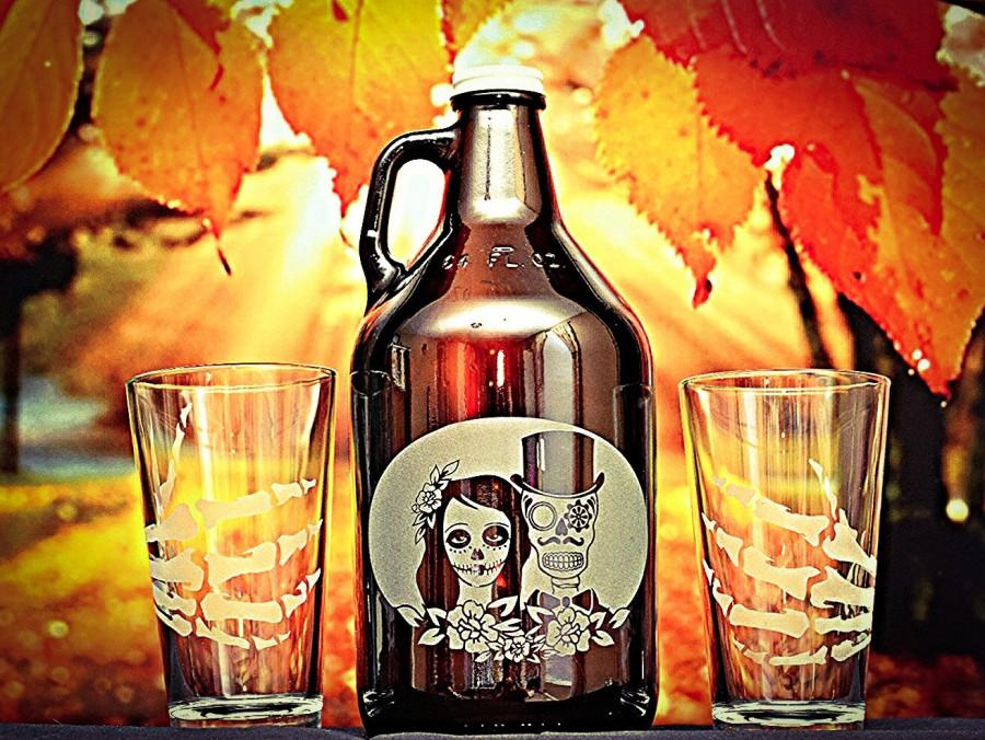 Hochzeit - Sugar skull, Growler, Beer Growler, Day of the dead, Dia de los muertos, Skeleton, Sugar skull wedding, Toasting glasses, Wedding gift