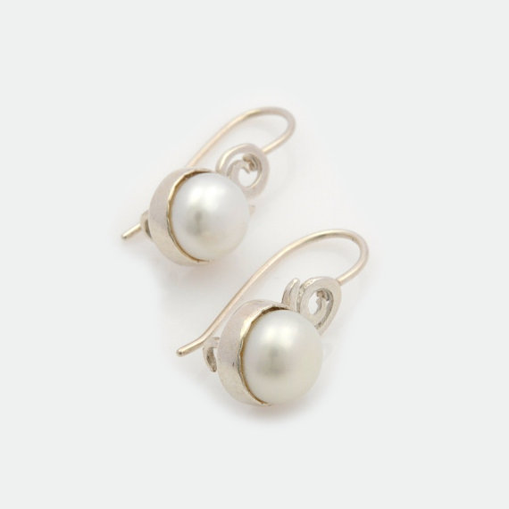 Small Silver Pearl Earrings Drop Short Dangle Minimalist Earring Unique Gift For Woman