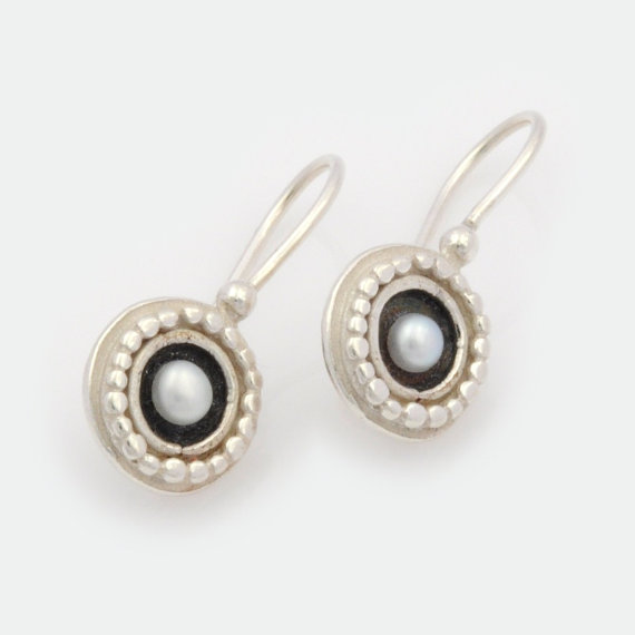 Small Silver Earrings Round Drop Earring Pearl Vintage Statement Jewelry