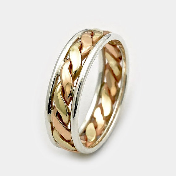 زفاف - Mens wedding bands, Father's Day sale, 9ct Twist Gold Ring, Three Tone Gold Silver Ring, Gift for Him, Men's Wedding Band, Gold Twist Ring