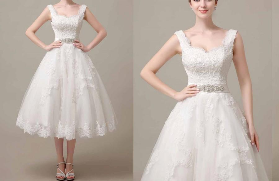 50shouse 50s Inspired Retro Feel Lace Top With Tulle Tea Length Wedding Dress Crystal Sash Custom Make