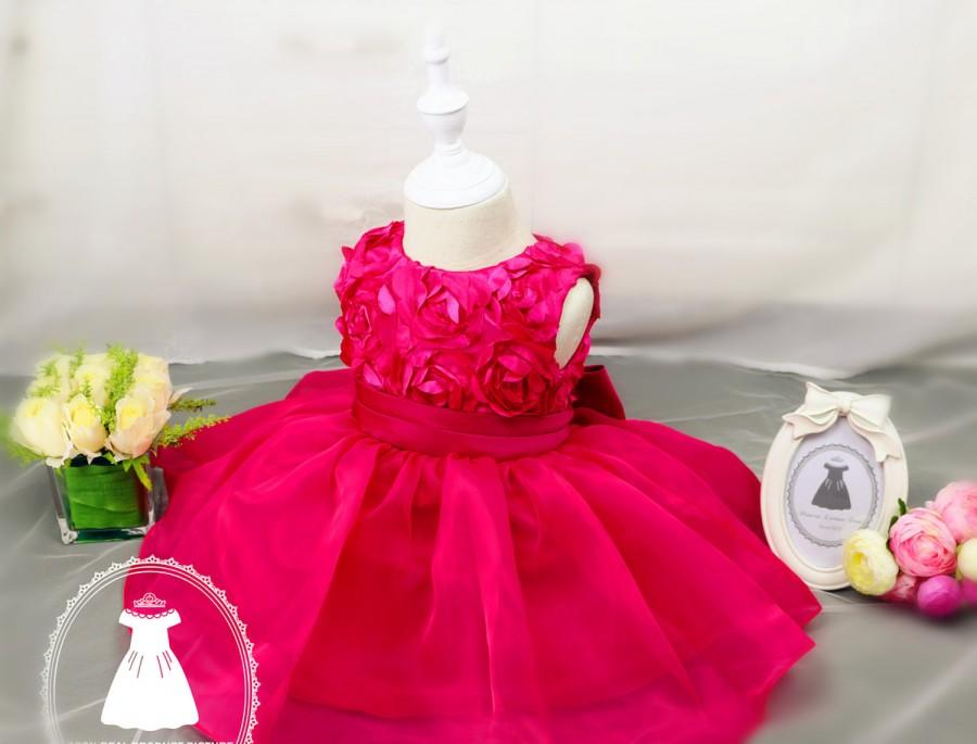 Christmas Dress Long Short Sleeve Hot Pink Baby Pageant DressBirthday 2 Year Old Birthday 1 PD050