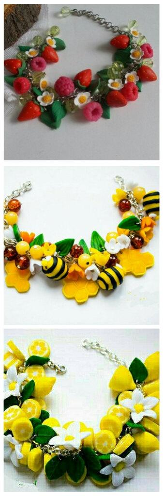 زفاف - Summer  bracelet, bee bracelet, berries bracelet,lemon bracelet, cold porcelain,girl accessory, gift  bracelet, bee accessory