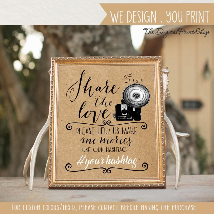 زفاف - Wedding Hashtag Sign social media Sign photo share our love faux kraft paper signage Party photobooth Decoration Digital Printable  jpg