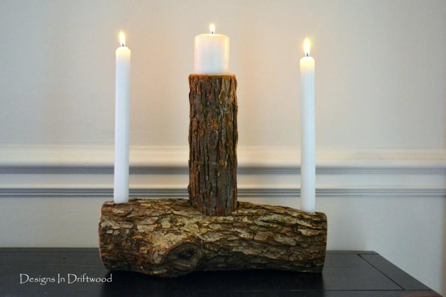 Rustic wood wedding unity candle set woodland