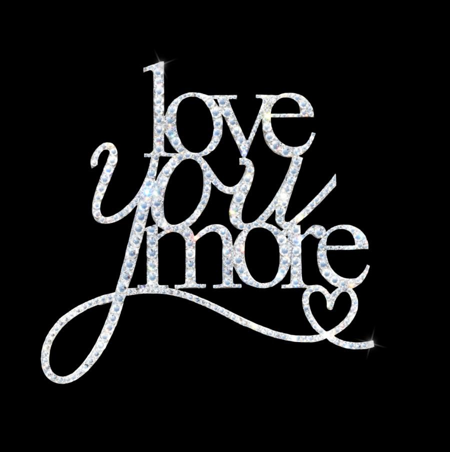 زفاف - Love You More Swarovski Cake Topper, Heart Cake Topper, Crystal Cake Topper, Bling Cake Topper