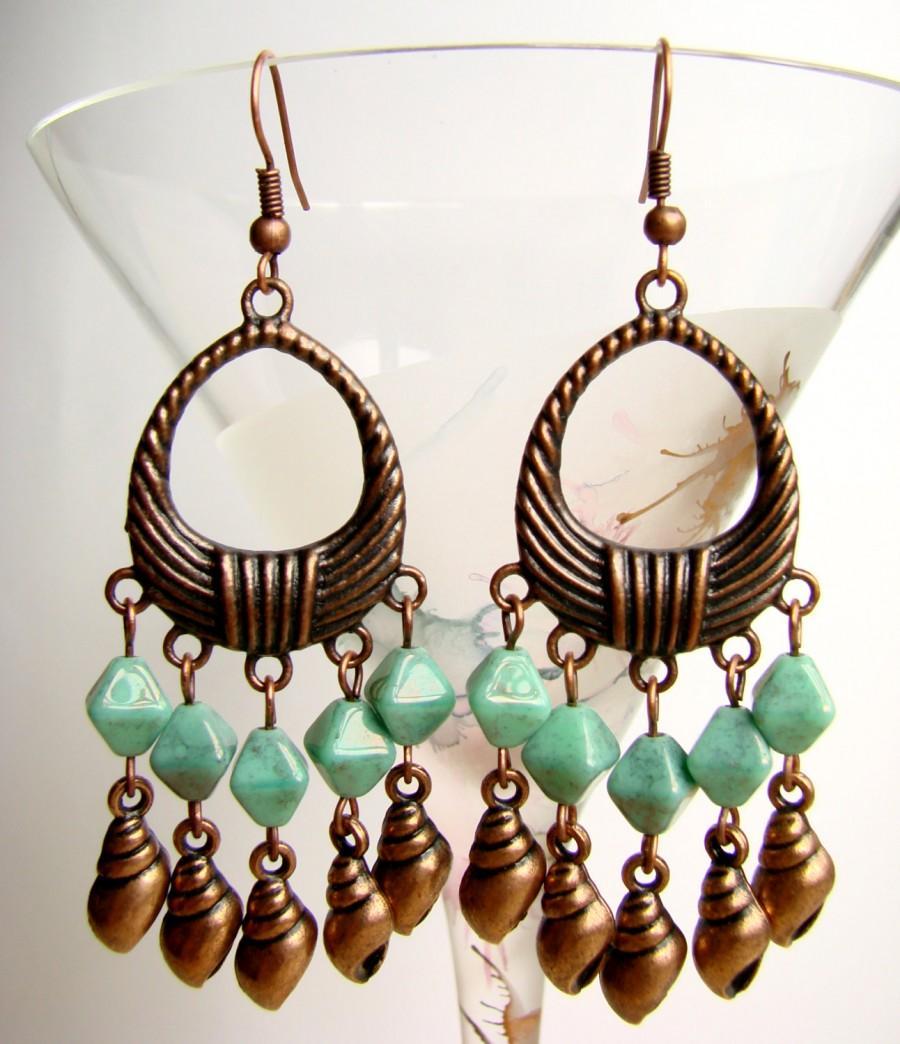 Chandelier earrings with shells copper tone earrings with turquoise chandelier earrings with shells copper tone earrings with turquoise glass beads summer earrings aloadofball Choice Image