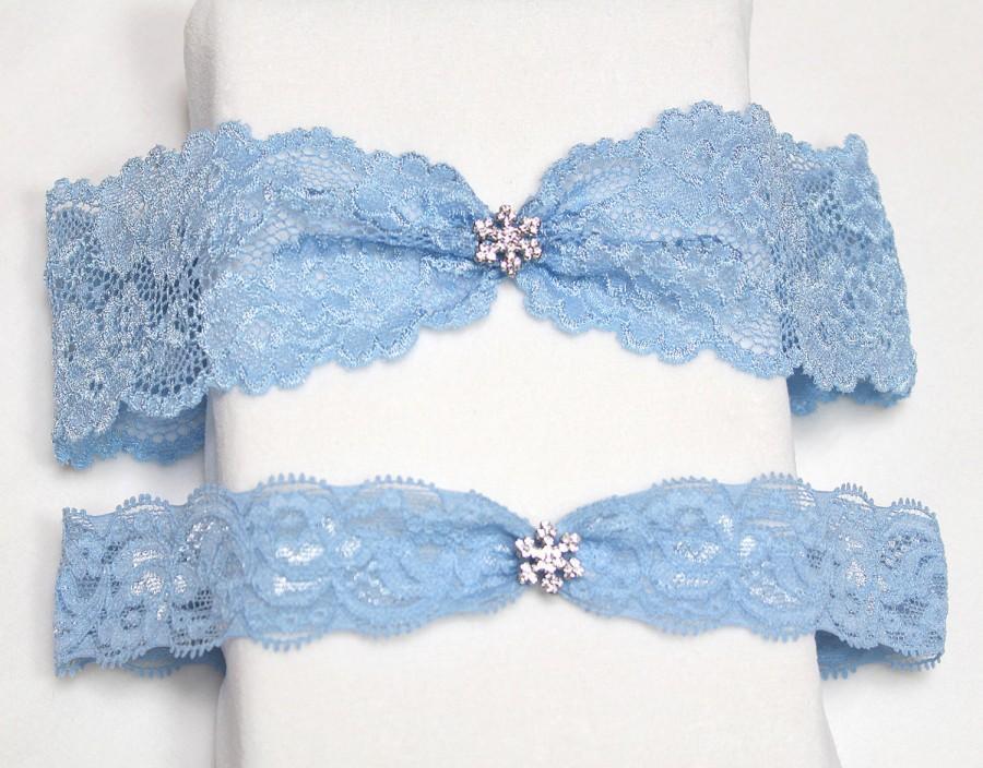 Свадьба - Blue lace garter set, wedding garter set, Something blue garter, blue garter set, garter set
