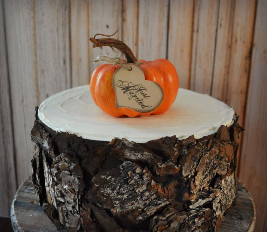 Свадьба - Fall wedding pumpkin gourd Thanksgiving wedding cake topper just married sign Cinderella pumpkin rustic fall themed decorations bride groom