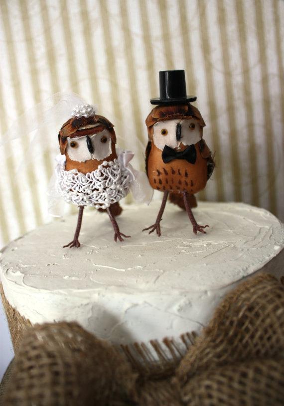 Mariage - Owls wedding cake topper-Barn owls cake topper-Rustic cake topper-Rustic wedding-OWLS