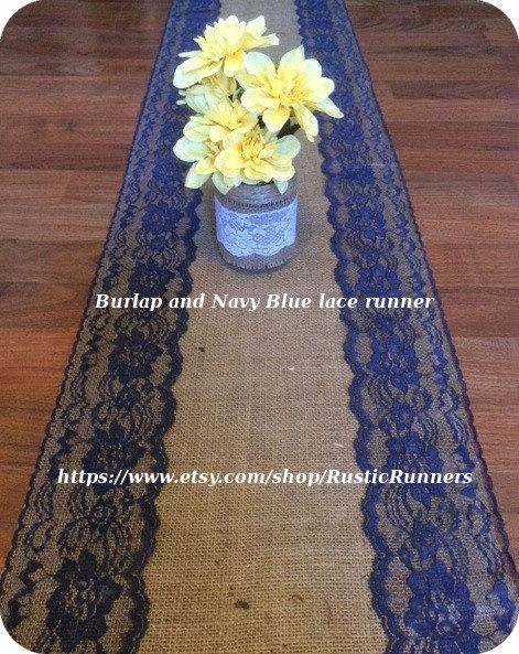 Свадьба - Rustic Country Charm Wedding Burlap and Navy Blue Lace Table Runner for a Rustic wedding, Shabby Chic table runner Bridal shower party event