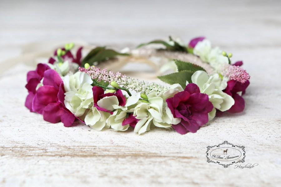 Mariage - Flower crown, floral headband, nature inspired, fairy birthday party, photo prop, photo session, flower girl,boho ,wedding