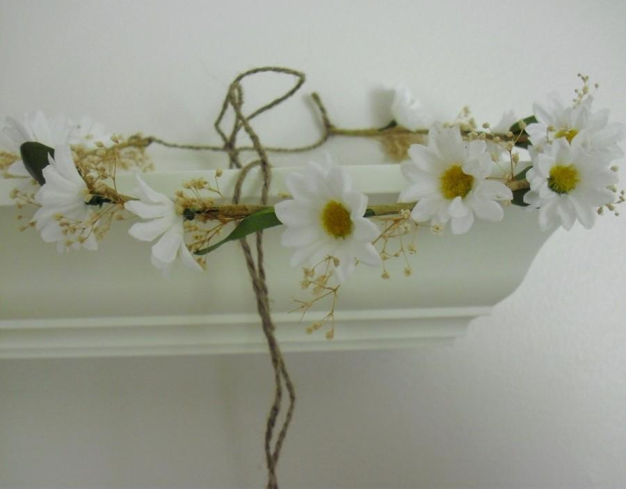 Свадьба - Bridal wedding hair accessories -Gabby- daisy hair wreath natural style headband hippie hairpiece Rustic flower crown preserved babys breath