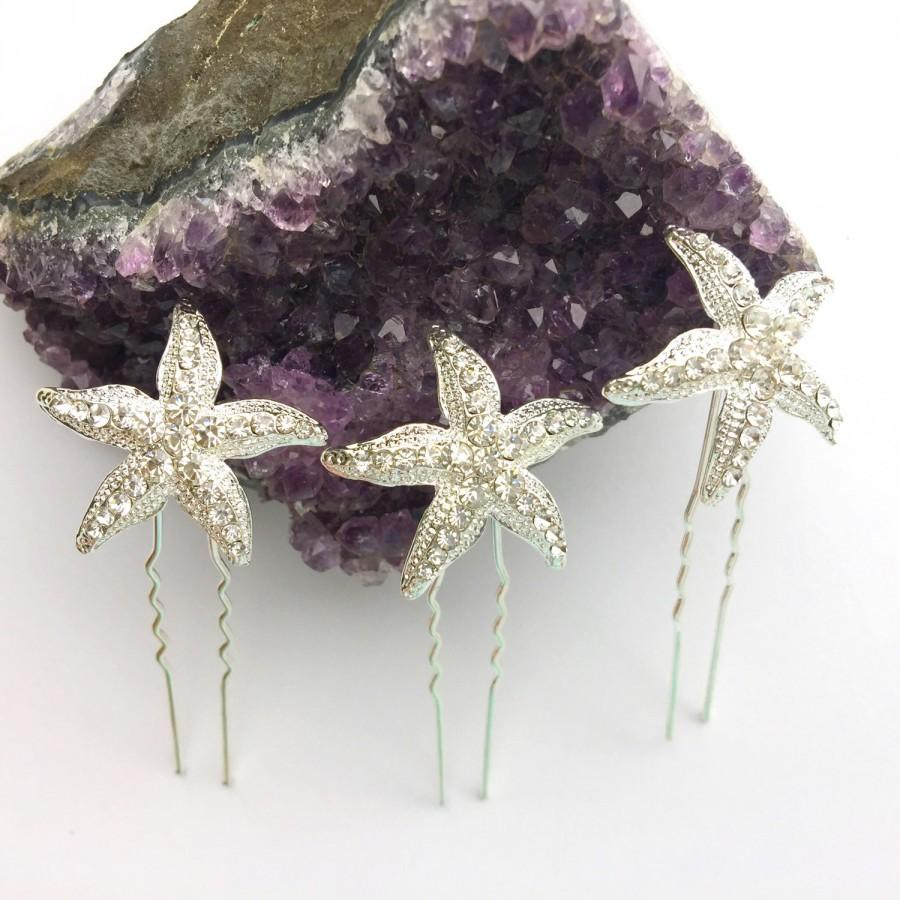 Свадьба - Silver Crystal Rhinestone Starfish Hair Pins Set of 3 Beach Wedding Hair Accessories