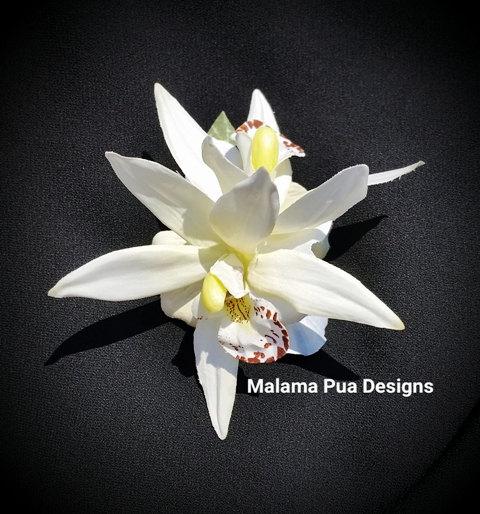 Свадьба - TROPICAL HAIR CLIP - Double Orchids, Headpiece, Hair Flowers, Hair Accessory, Bridal, Bridesmaid, Wedding, Beach, Hawaii, Beach,Pearl Center