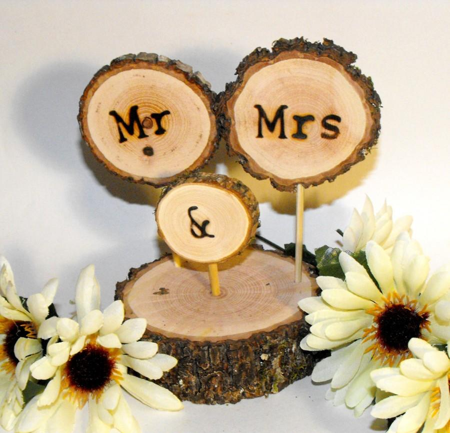 Rustic Wood Wedding Cake Topper ~ Fall Wedding Cake Decoration ~Tree ...
