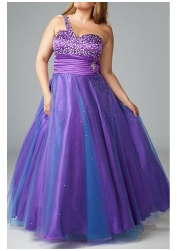 Wedding - Beading Satin Purple One Shoulder Lace Up Tulle Sleeveless Ruched Floor Length Ball Gown