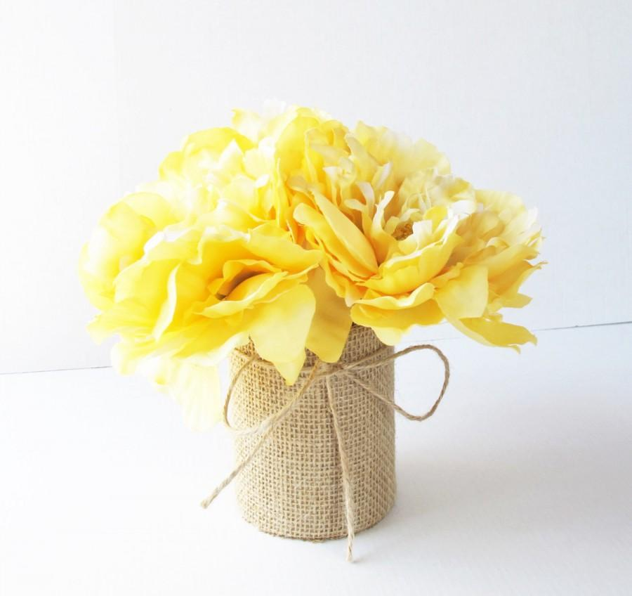 Wedding table decor yellow peonies decoration soft yellow for Artificial flowers for wedding decoration