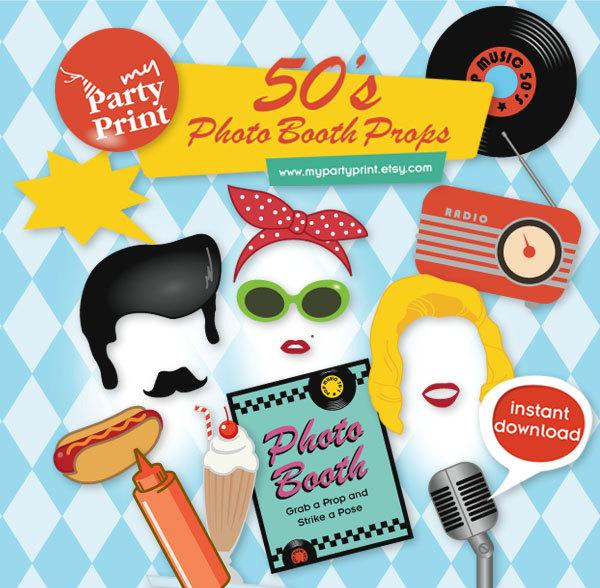 Mariage - 50s Party Printables Photo Booth Props with digital mustache lips comb milkshake photo booth signs for your 1950's party - Instant Download
