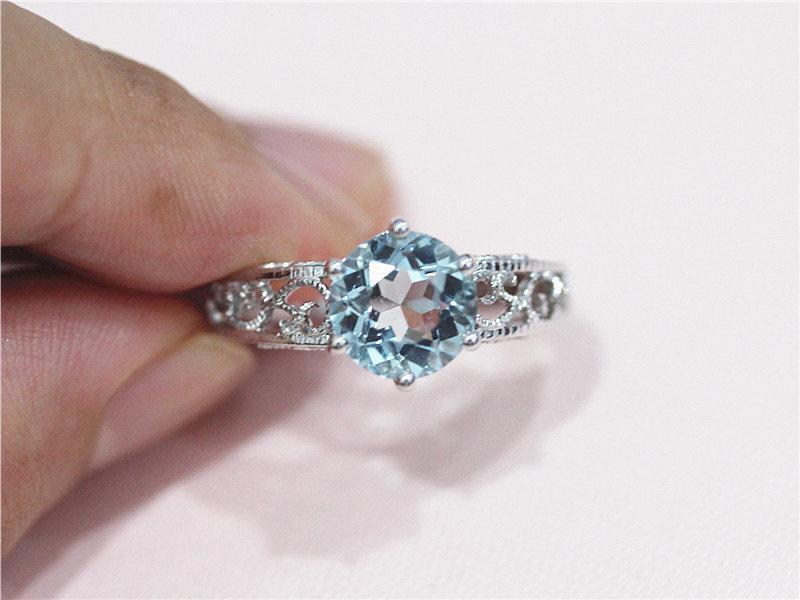 زفاف - 14K White Gold 8mm Round Aquamarine Ring Engagement Ring Wedding Band Ring Aquamarine Jewelry