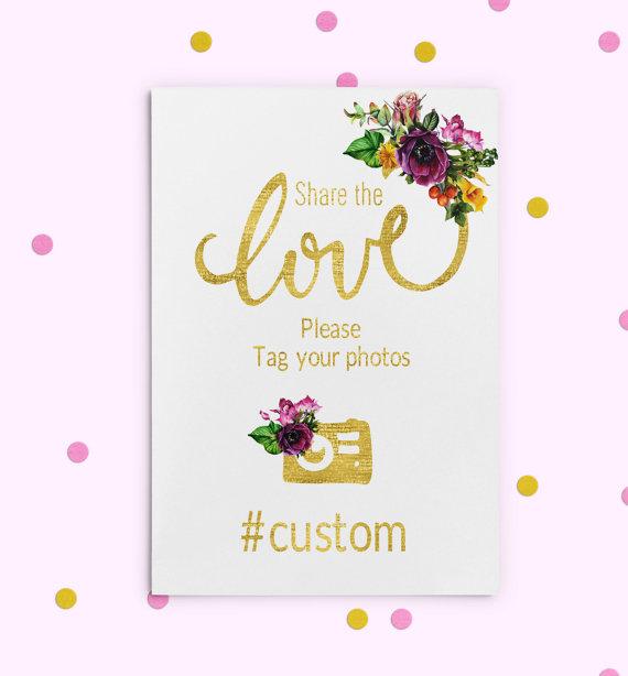 زفاف - Instagram Hashtag Sign Gold foil Printable Purple Wedding Sign Wedding Share love sign Wedding Instagram Custom Hashtag Sign idw30