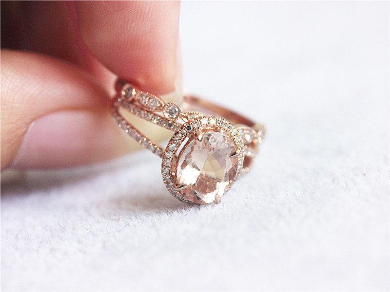 زفاف - 2 Rings Set 14K Rose Gold Pink 7x9mm Morganite Ring  Halo Matching Band Morganite Ring Engagement Ring Wedding Ring Set