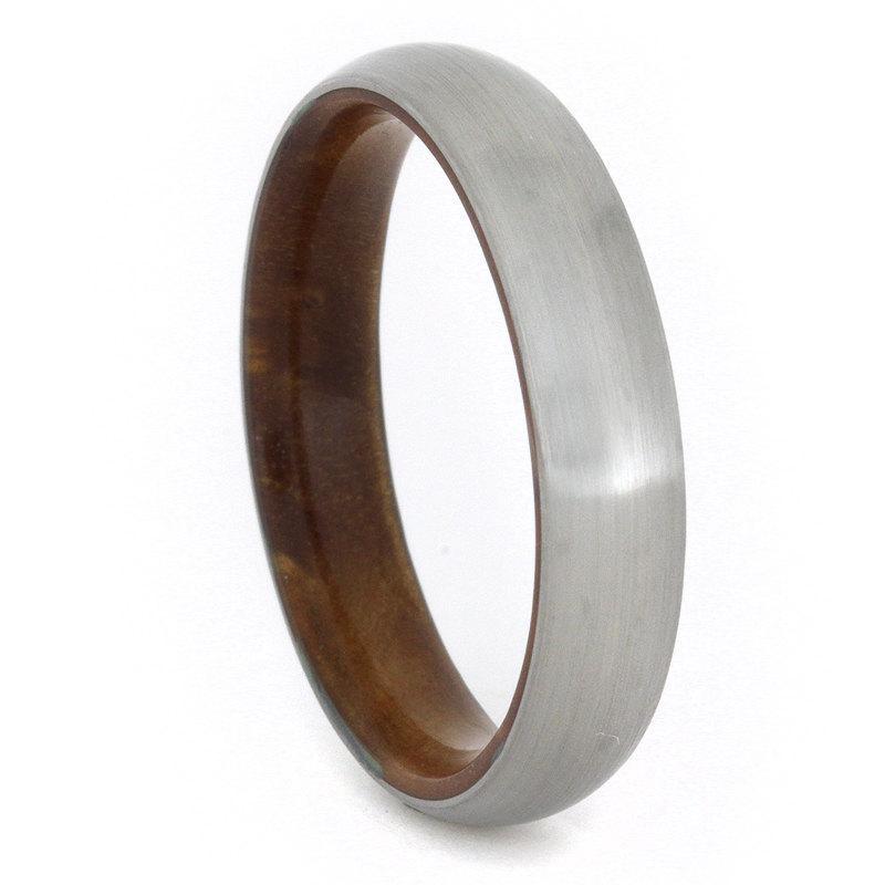 زفاف - Brushed Titanium Ring with Sindora Wood Sleeve, Ring Armor Included