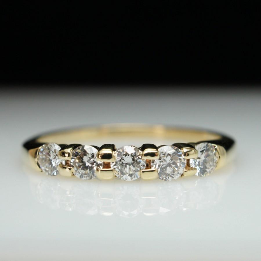 زفاف - Vintage .50ct Natural Diamond 14k Yellow Gold Wedding Band Ring- Size 6