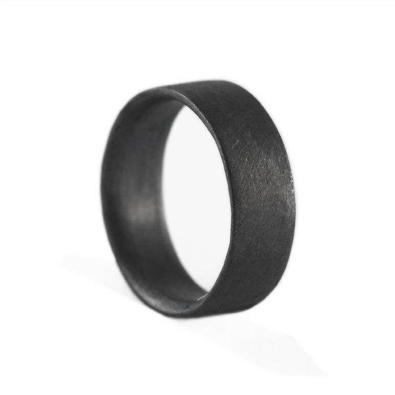 زفاف - Mens Wedding Band Brushed Black Silver Personalized Man Ring Jewelry