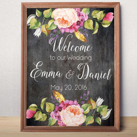 Printable Wedding Welcome Sign To Our Custom Bohemian Rustic Floral Poster