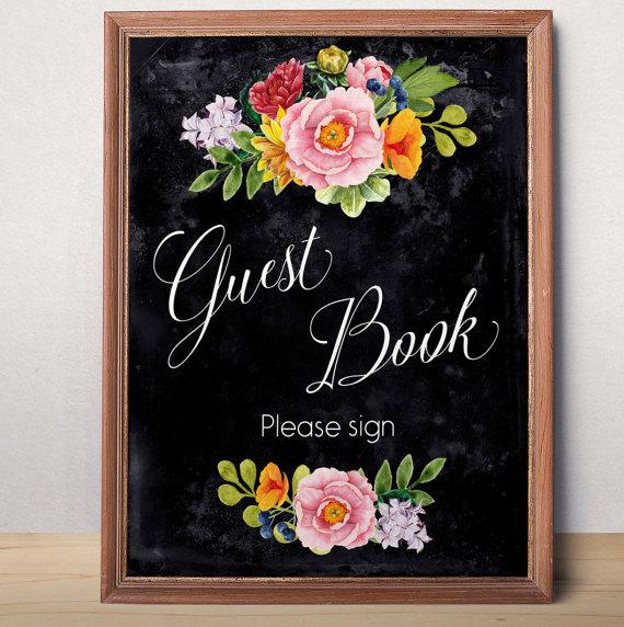 Wedding - Wedding guest book sign Printable wedding sign Guest book sign printable Chalkboard Wedding decor Instant download Reception Floral sign