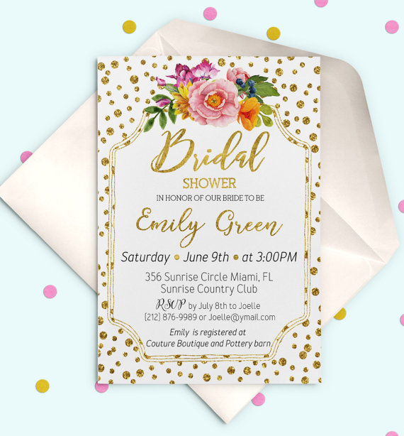 Bridal Shower Invitation Printable Modern Glitter Confetti Gold Brunch And Bubbly Invite Idb24