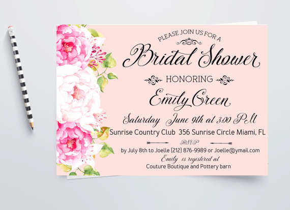 romantic bridal shower invitation pink printable peony bridal brunch horizontal digital invitation modern bridal shower invite idb21