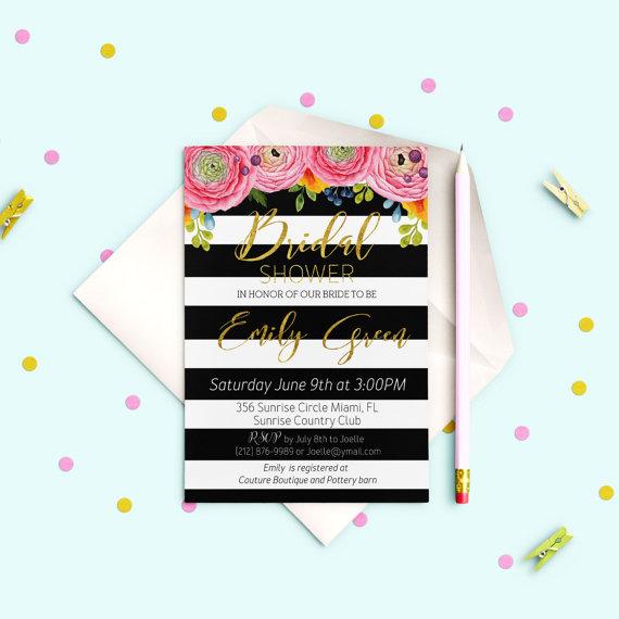 Hochzeit - Striped Bridal Shower Invitation Gold Bridal Brunch Modern Bridal Shower Invite Printable Floral Black White stripes Bridal Shower idb18