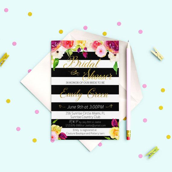 Hochzeit - Printable Bridal Shower Invitation Bridal Shower Glitter Gold Shower Invitation Bridal Shower Invite Black & White stripes idb17