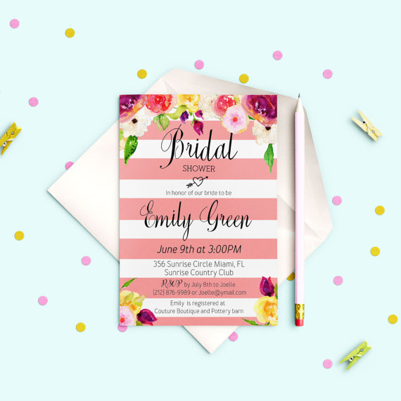 Hochzeit - Striped Bridal Shower Invitation Modern Bridal Shower Invite Printable Pink Floral Bridal Shower Digital Download idb16