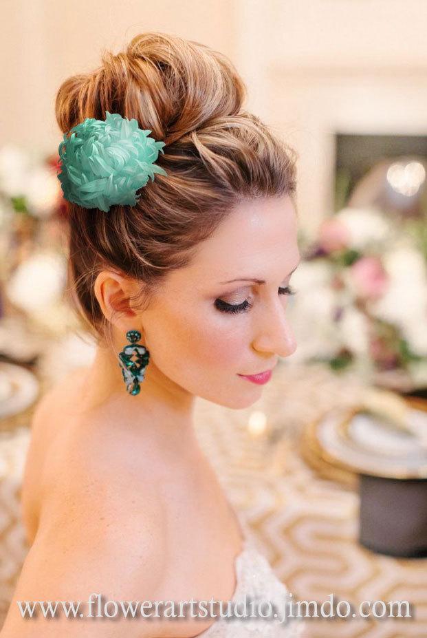 Hochzeit - Aqua silk flower, bridal brooch or hair clip, mint flower for sash, flower hair clip, mother of a bride turquose silk flower.